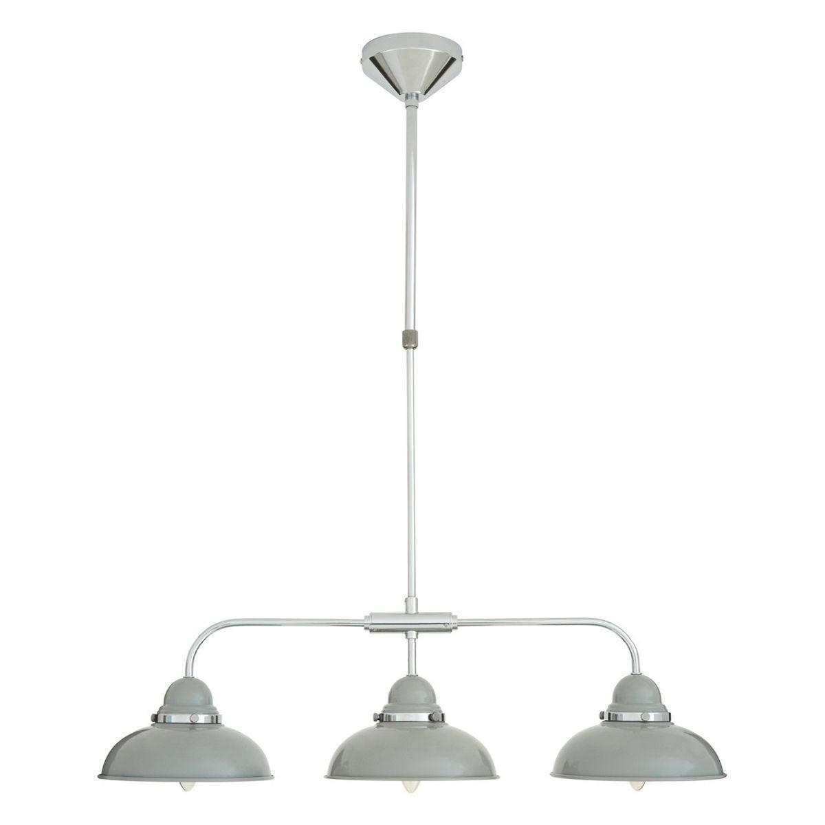 Pendant Light 3 Shades - Light Grey/Chrome