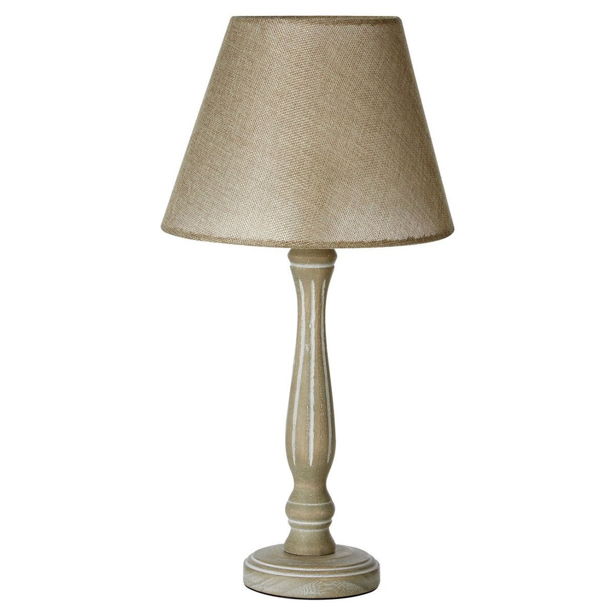 Table Lamp - Wooden Candlestick Base/Beige Shade