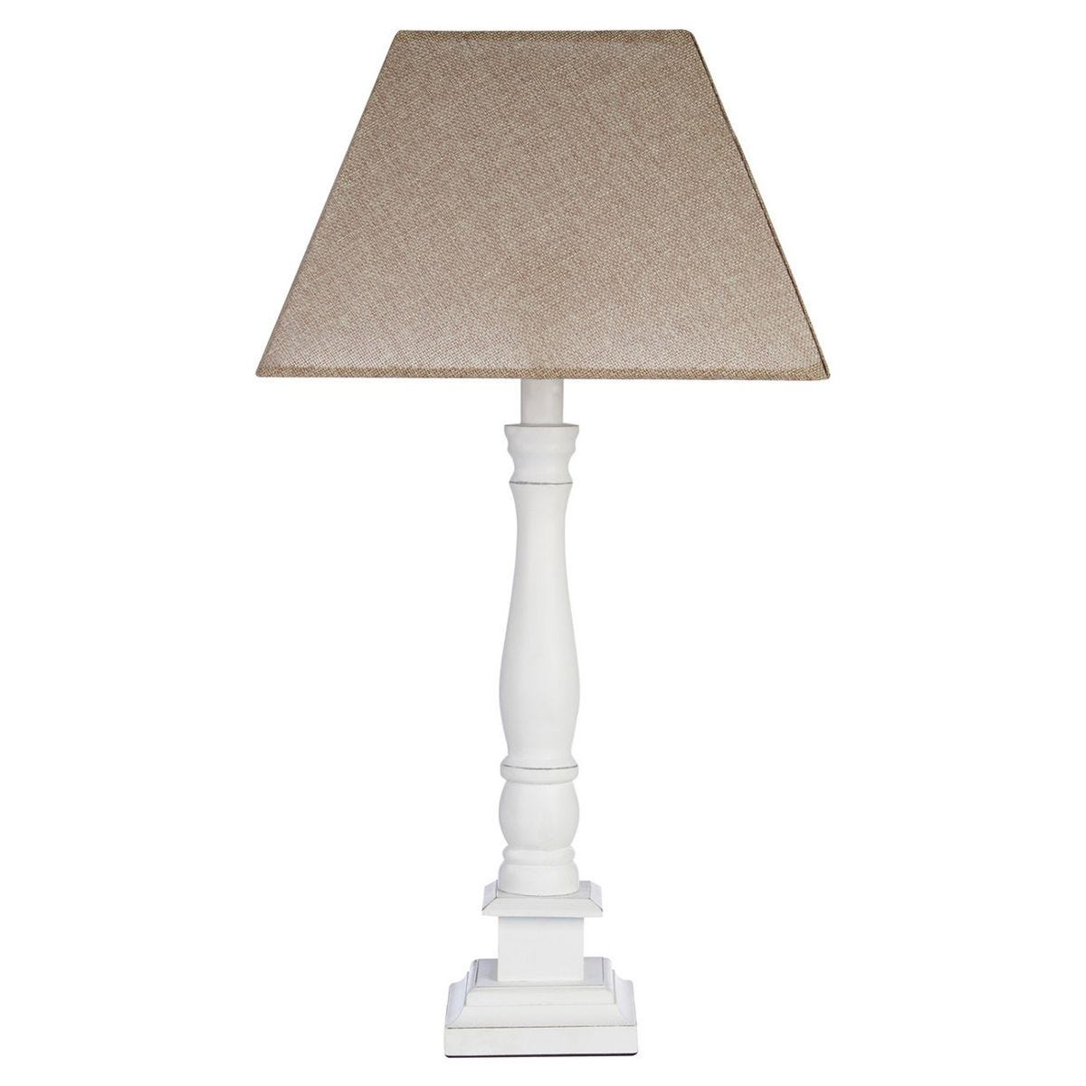 Table Lamp - White Wood Candlestick Base/Beige Shade