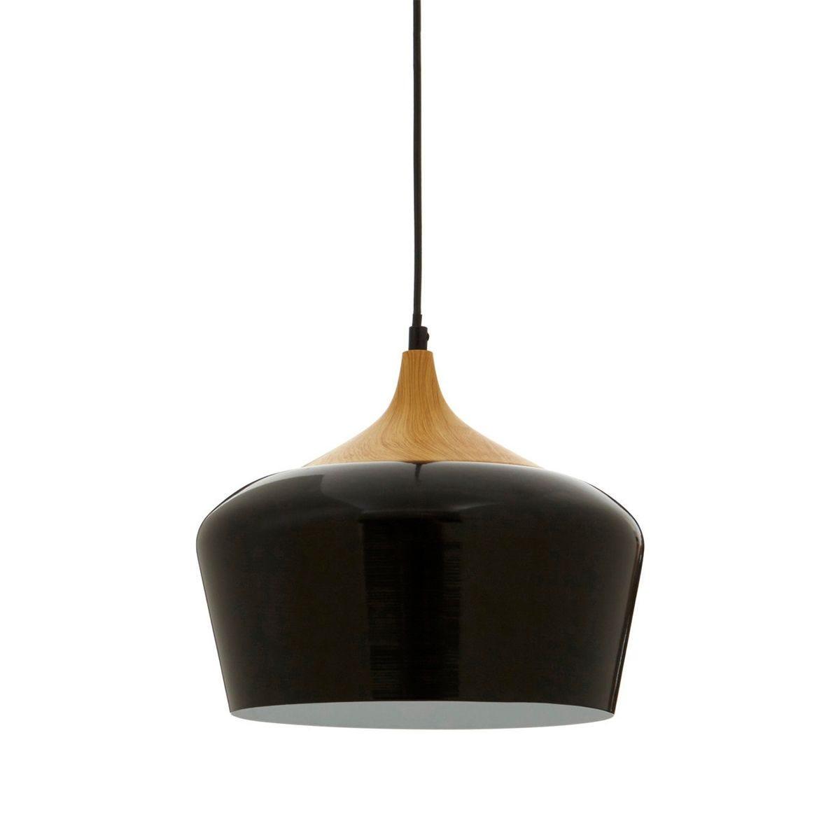 Pendant Light - Metal/Wood and Black