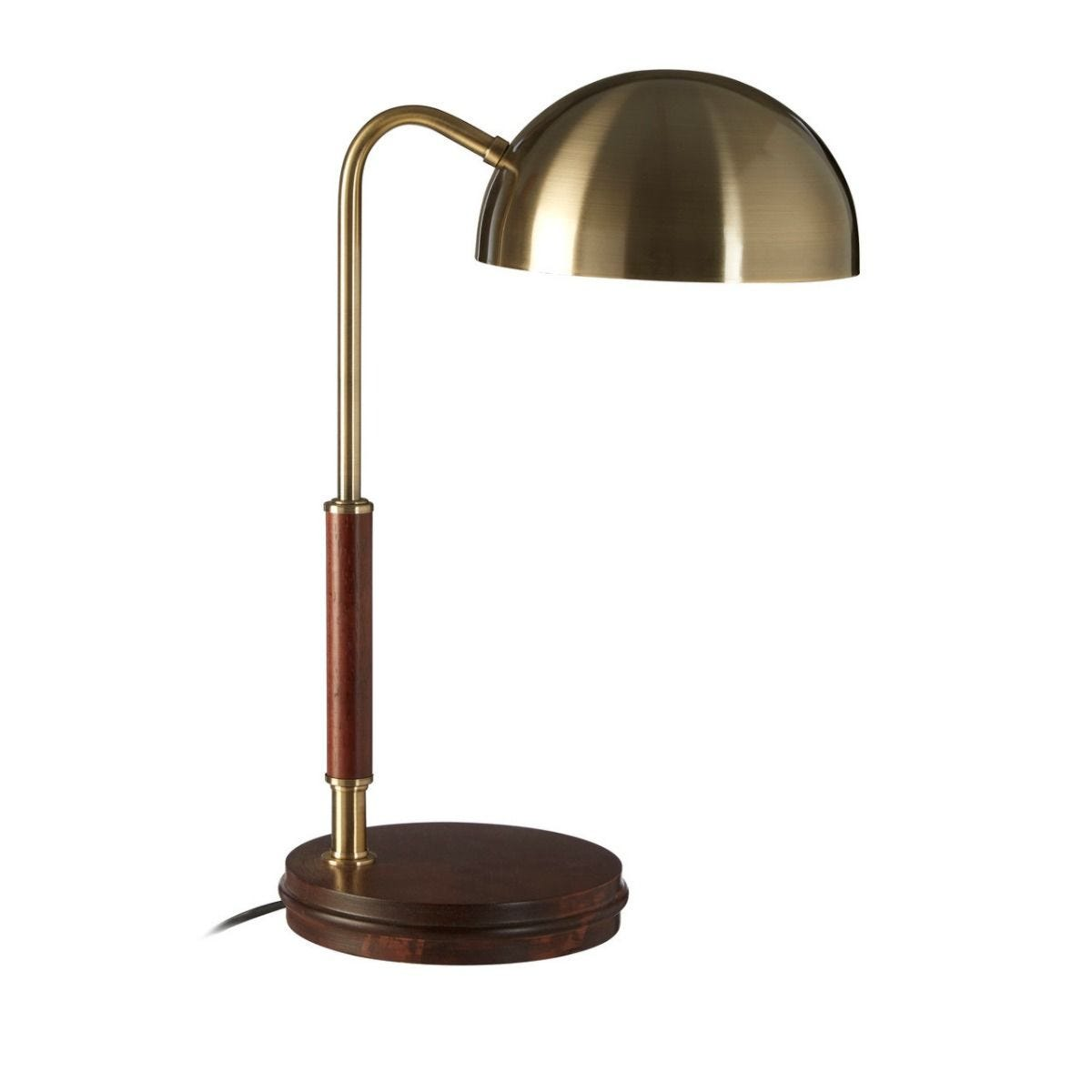 Table Lamp Antique Brass Finish With Real Wood Base