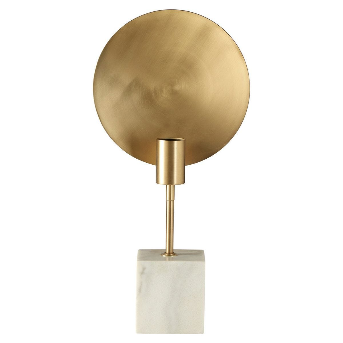 Table Lamp - Brushed Brass Finish/White Marble