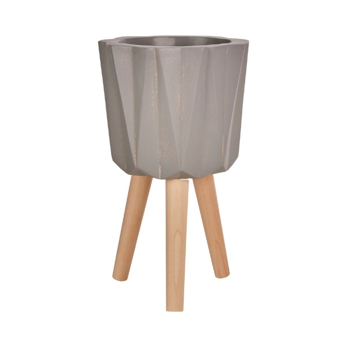 Small Multi-Faceted Planter in a Grey Finish Magnesia Fibreglass with Natural Beech Wood Legs