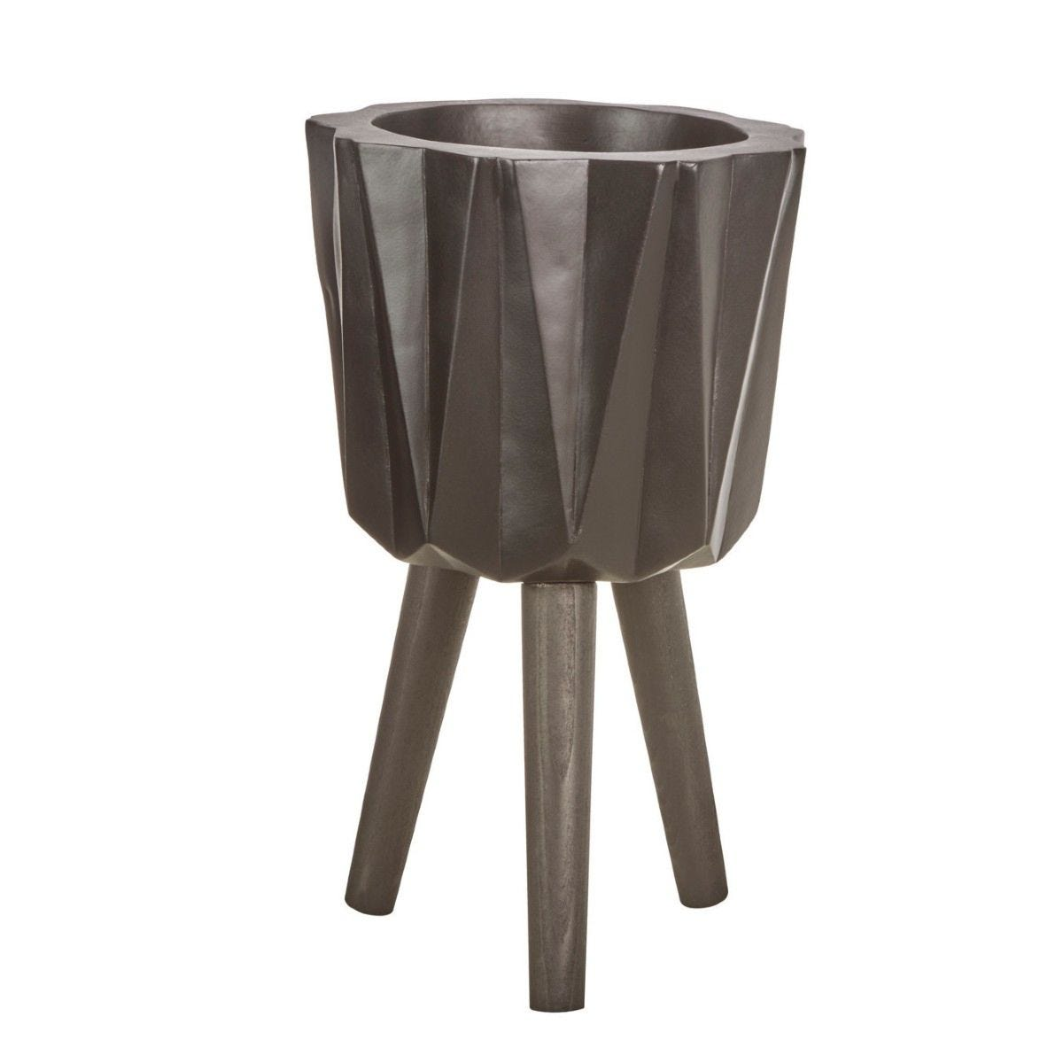 Small Multi-Faceted Planter in a Magnesia Fibreglass with Beech Wood Legs - Black Finish