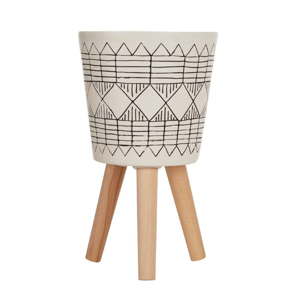 Small Planter in a White/Black Magnesia Fibreglass with Natural Beech Wood Legs