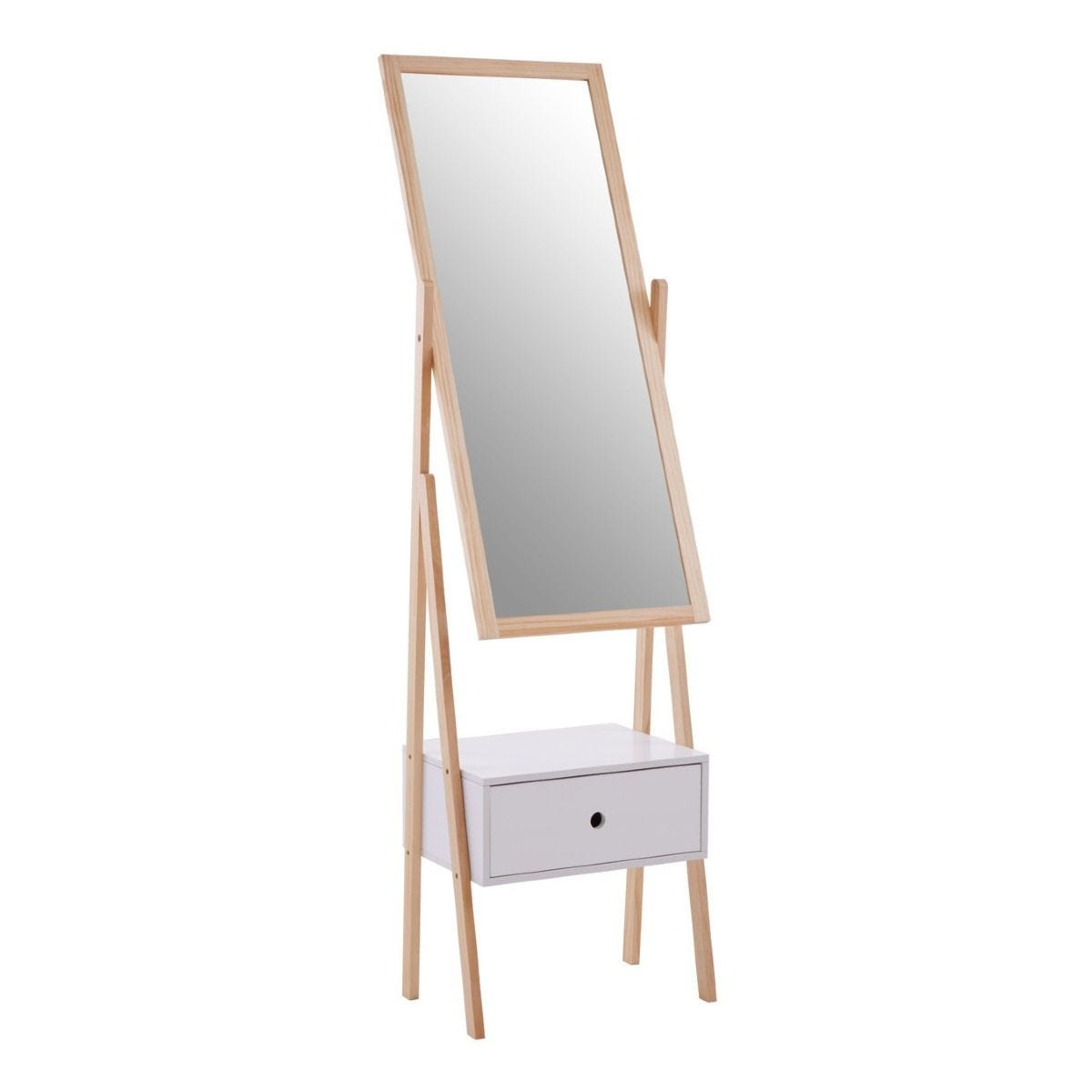 Premier Housewares Mirror Stand with Drawer White Pine Wood Frame