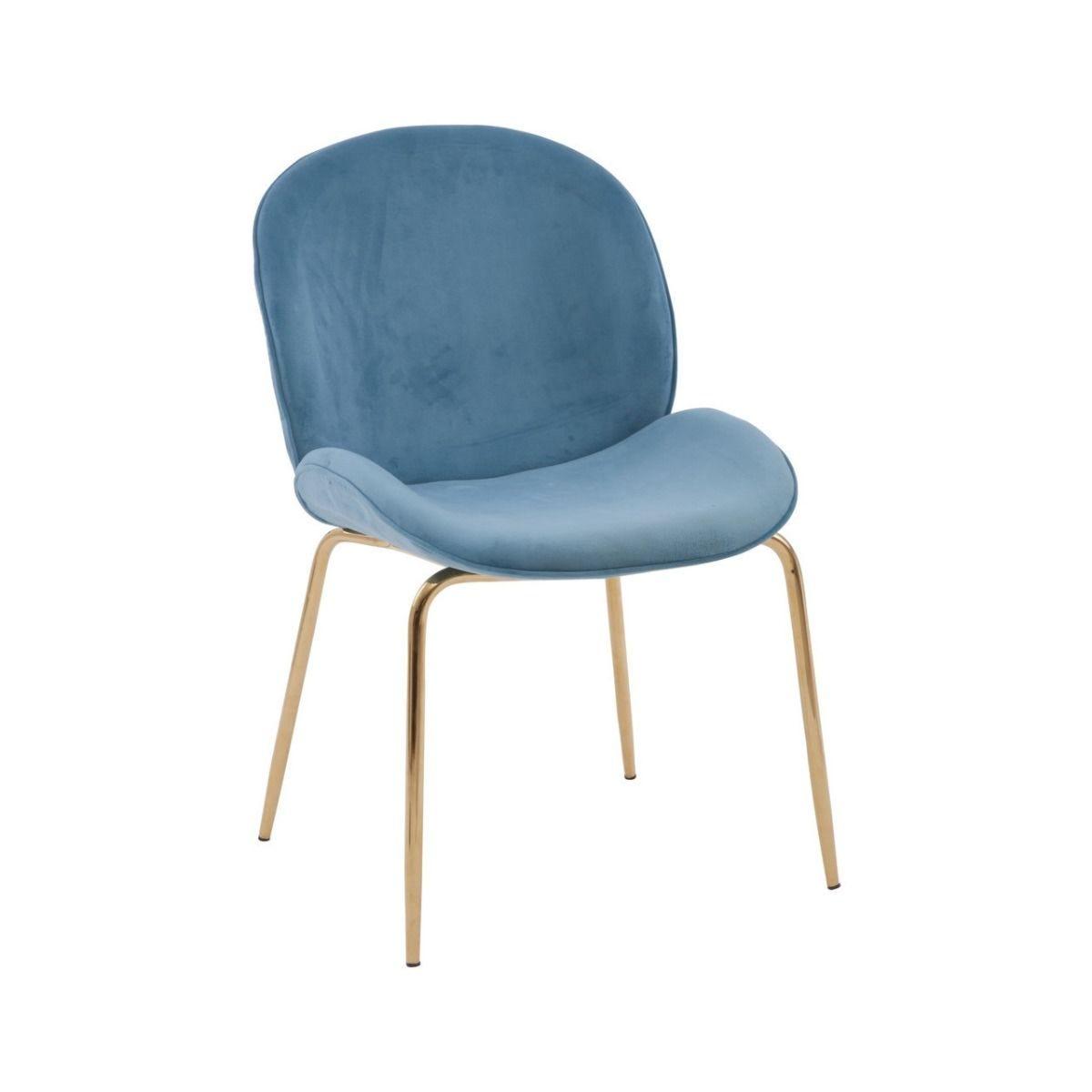 Premier Housewares Dining Chair Light Blue Velvet Gold Finish Metal