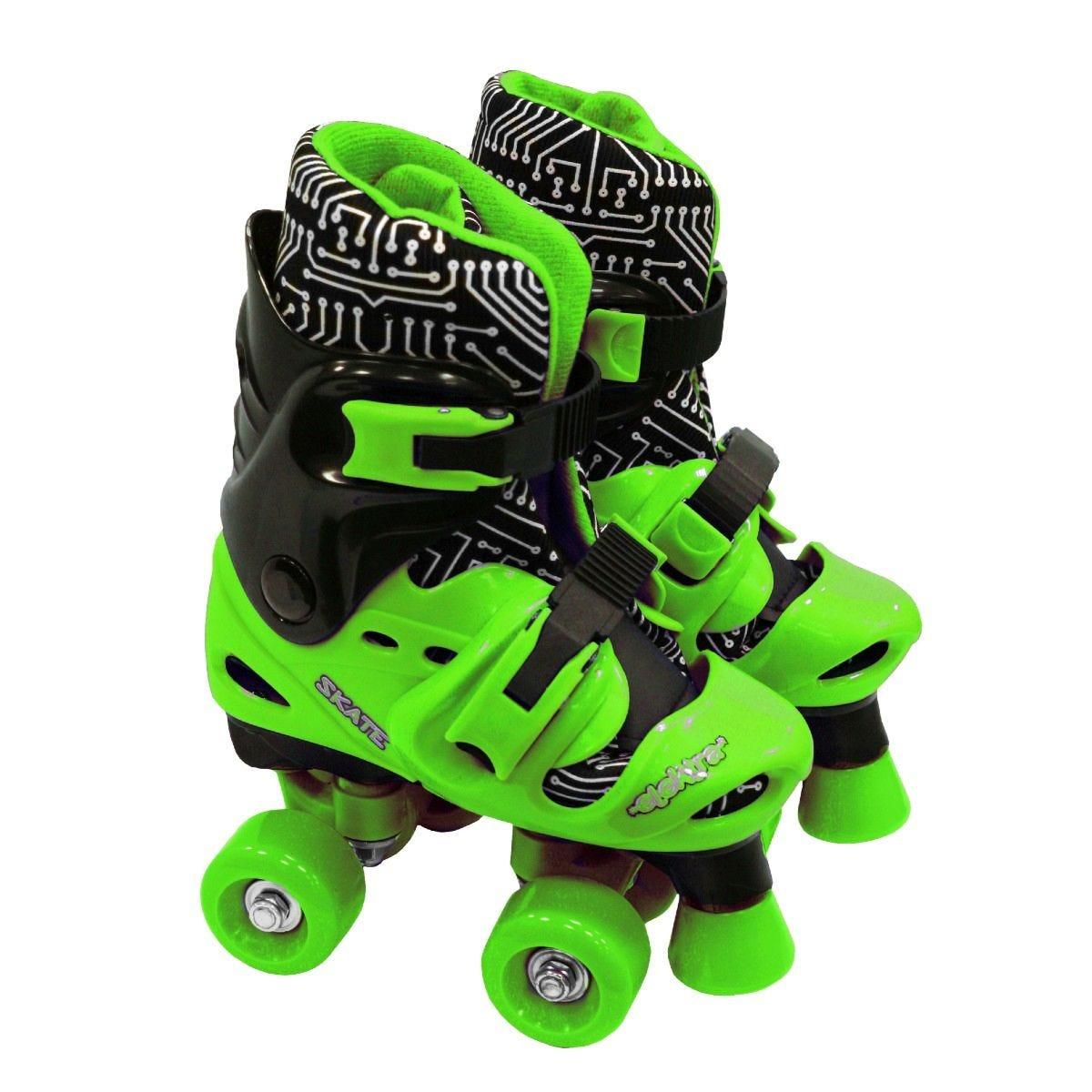 Elektra Quad Boot Adjustable Roller Skates Medium Green and Black