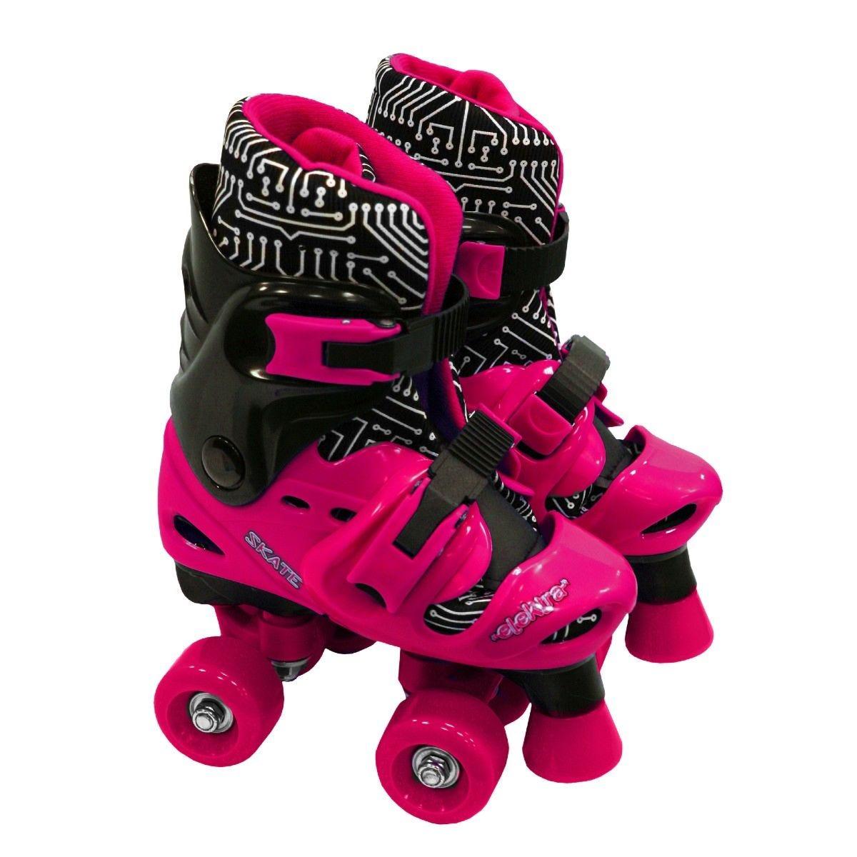 Elektra Quad Boot Adjustable Roller Skates Medium Black and Pink