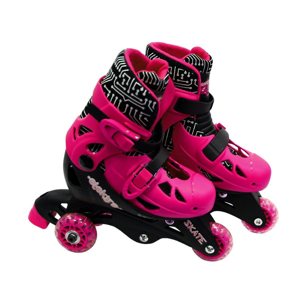Elektra Tri Line Adjustable Small Skate Boots Pink