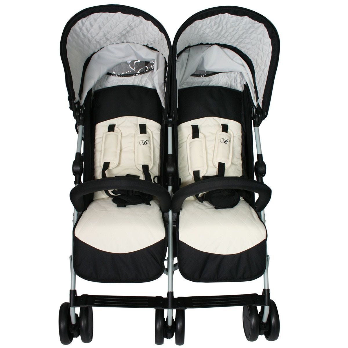 My Babiie Billie Faiers MB22 Double Stroller - Black & Cream