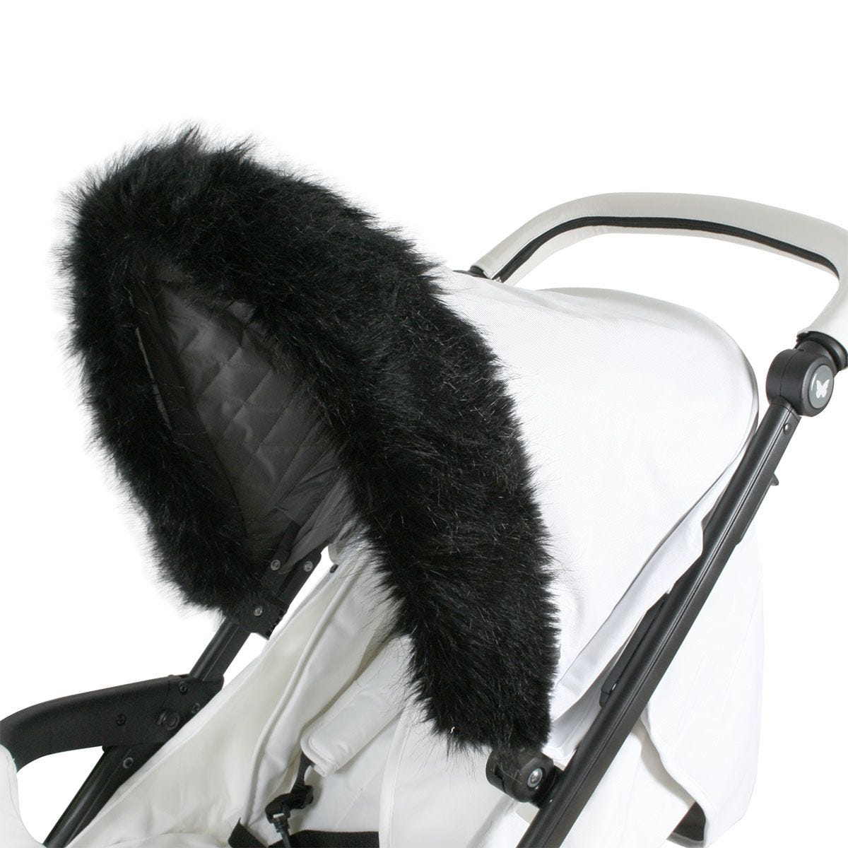 My Babiie Pram Hood Fur Trim -  Black
