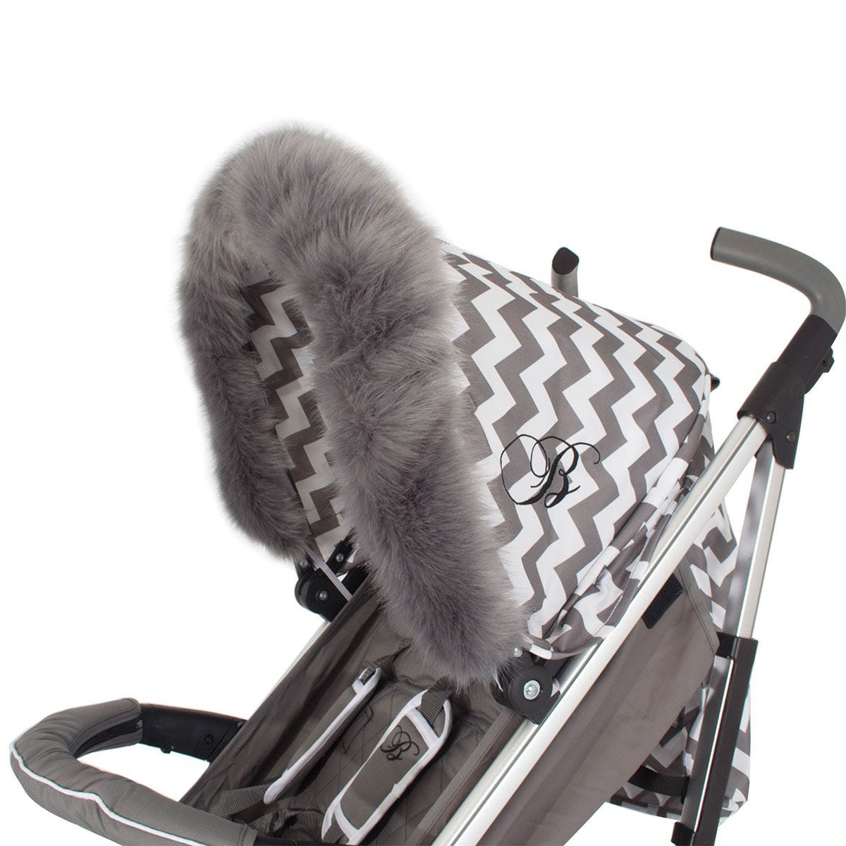 My Babiie Pram Hood Fur Trim - Grey
