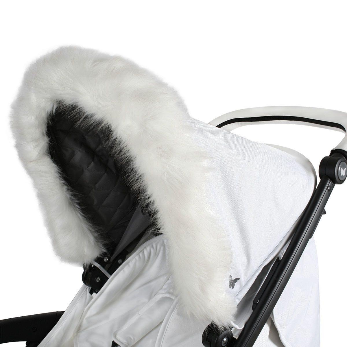 My Babiie Pram Hood Fur Trim - White