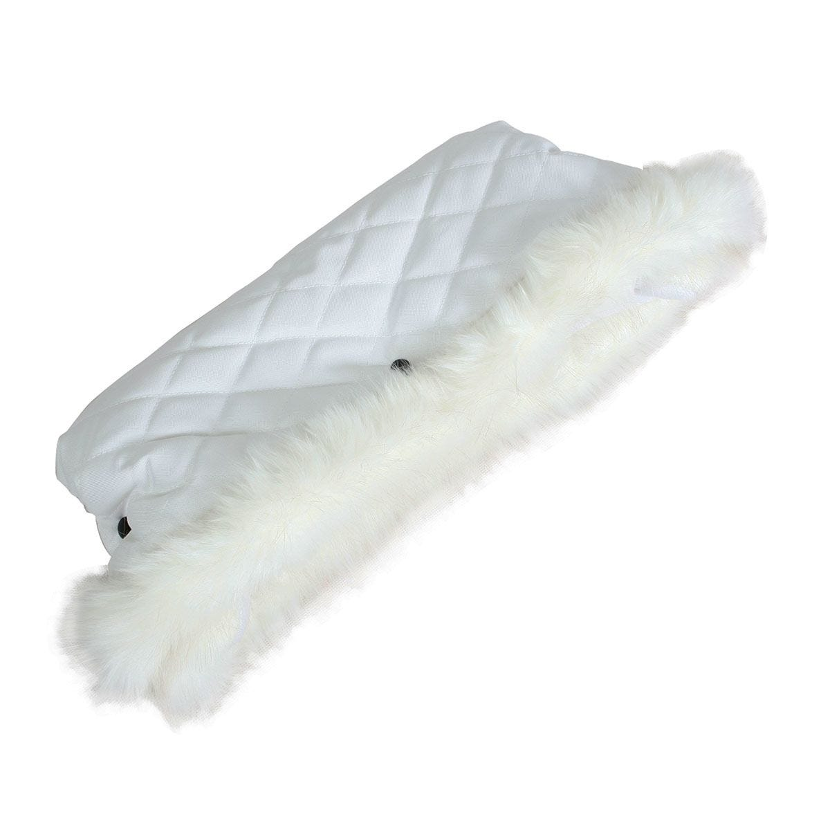 My Babiie Fur Trimmed Pushchair Handmuff - White