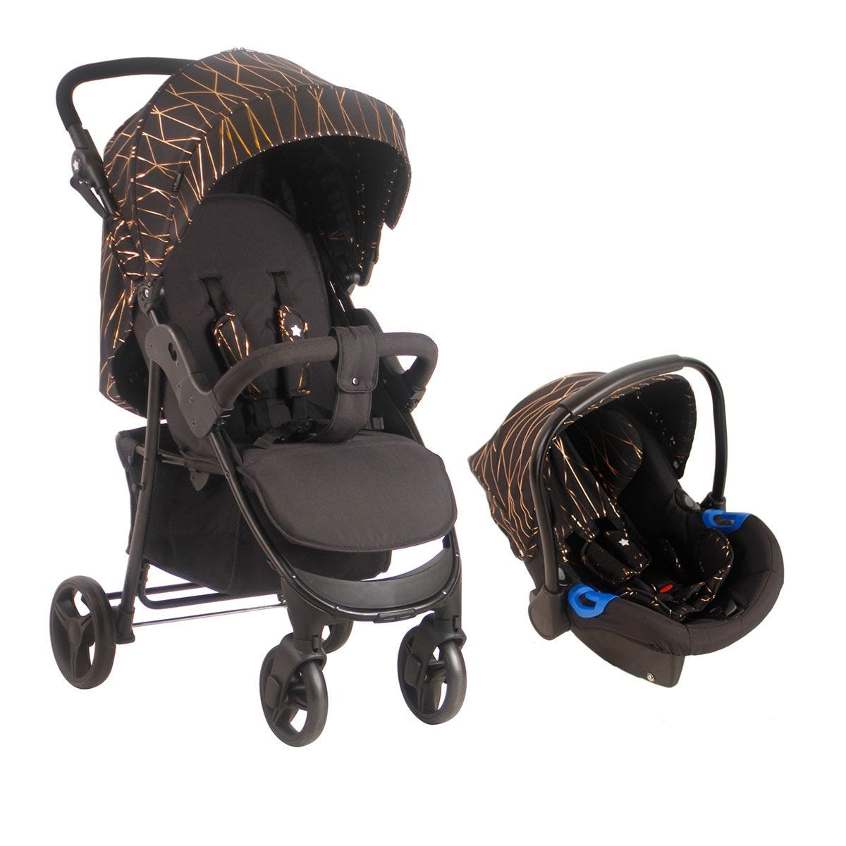 My Babiie MB30 Pushchair and Car Seat - Rose Gold Black