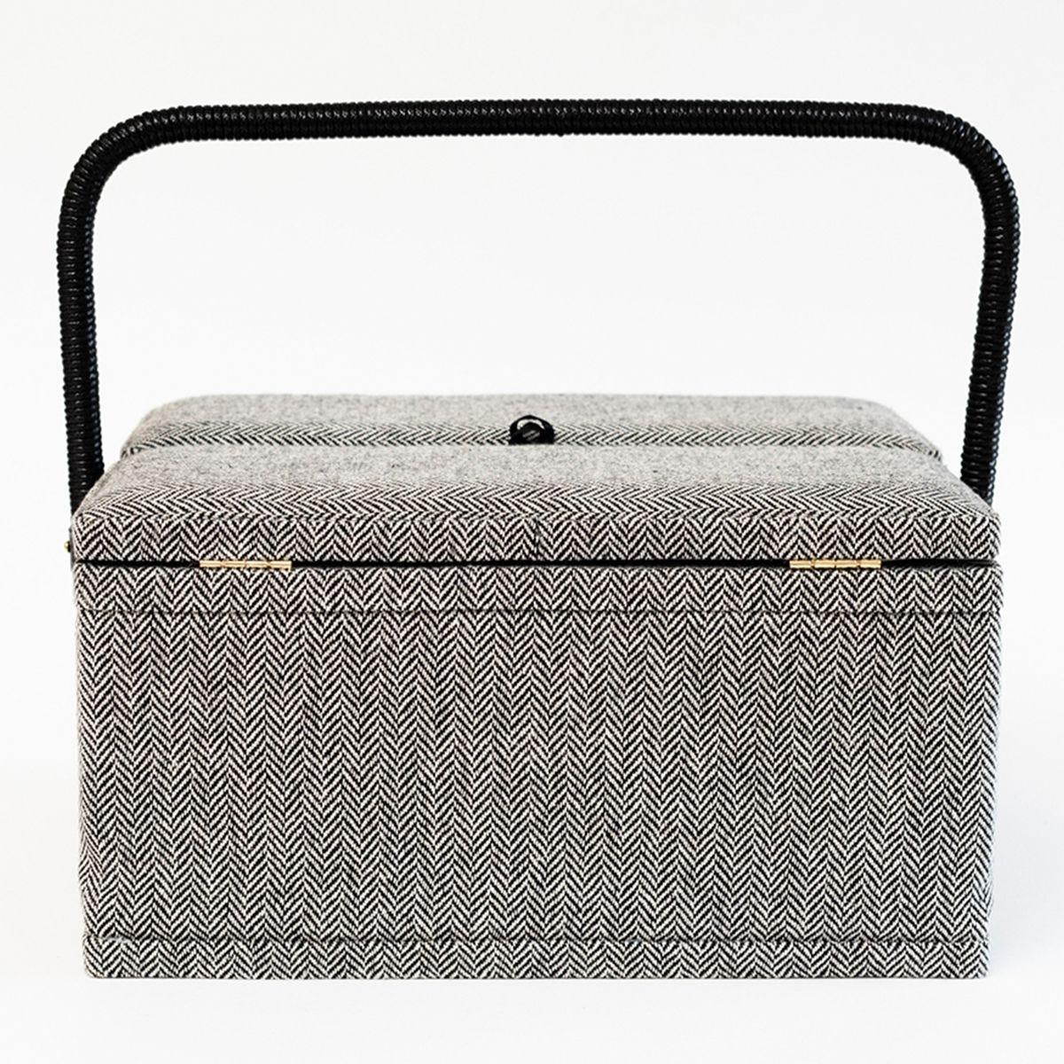 Korbond Herringbone Twin Lid Sewing Basket