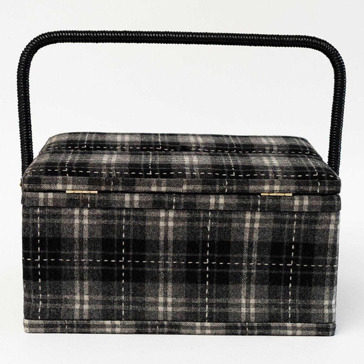 Korbond Hamilton Tartan Twin Lid Sewing Basket
