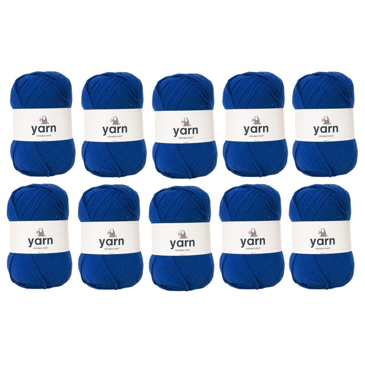 Korbond Royal Blue Double Knit Yarn Bulk Pack Bundle - 10 x 100g