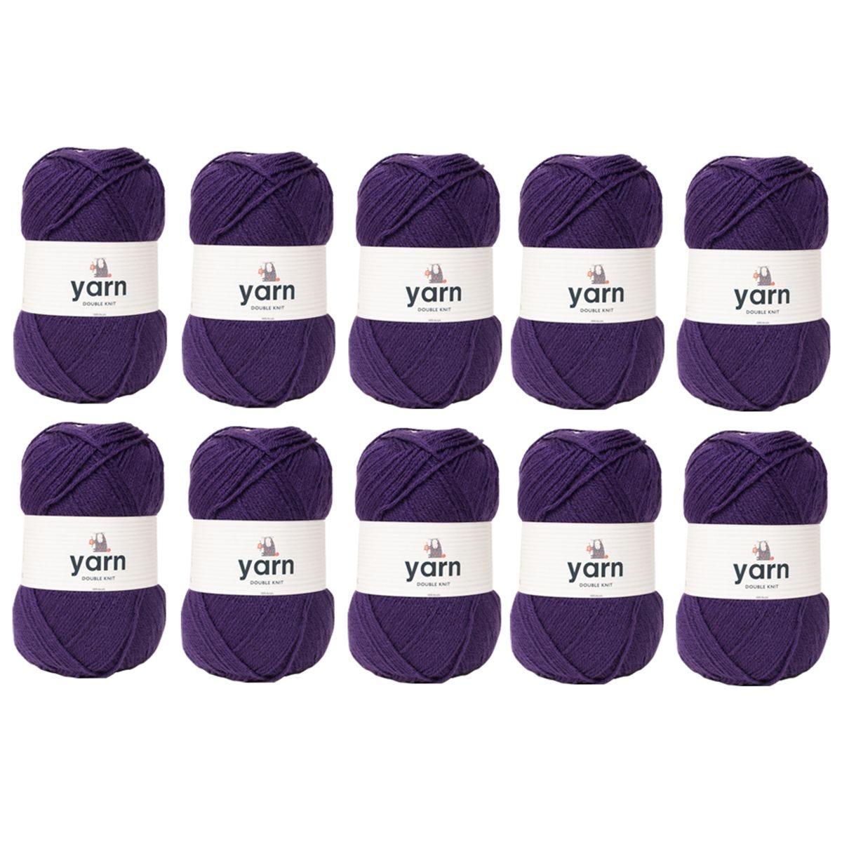 Korbond Purple Double Knit Yarn Bulk Pack Bundle - 10 x 100g
