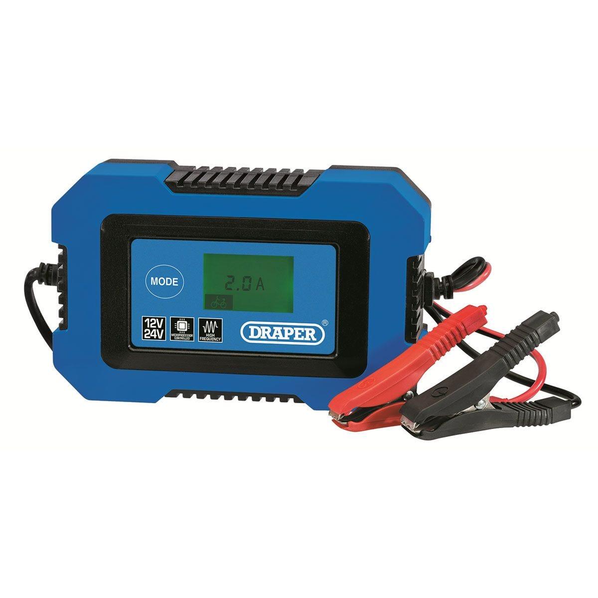 Draper 10A 12V/24V Battery Charger - Blue & Black