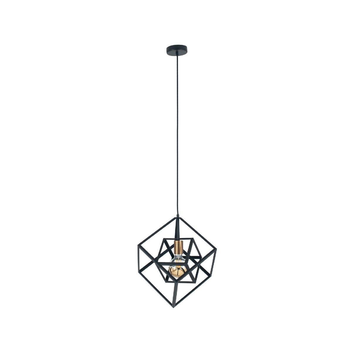 Matt Black Metal Cube Pendant