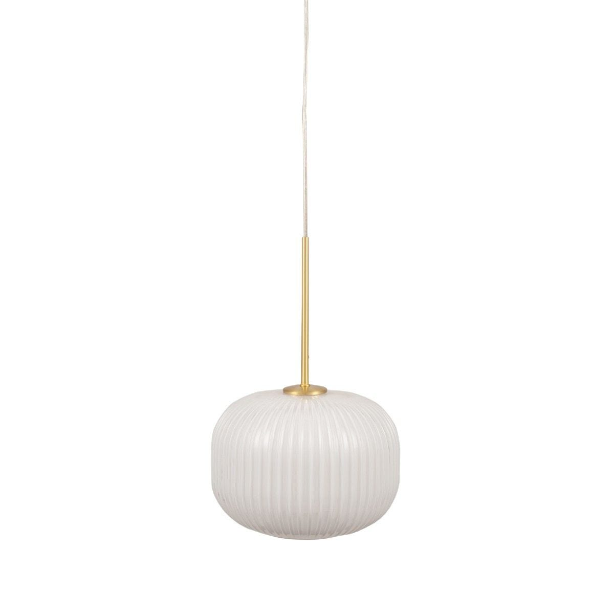 White Glass and Gold Metal Ribbed Squoval Pendant