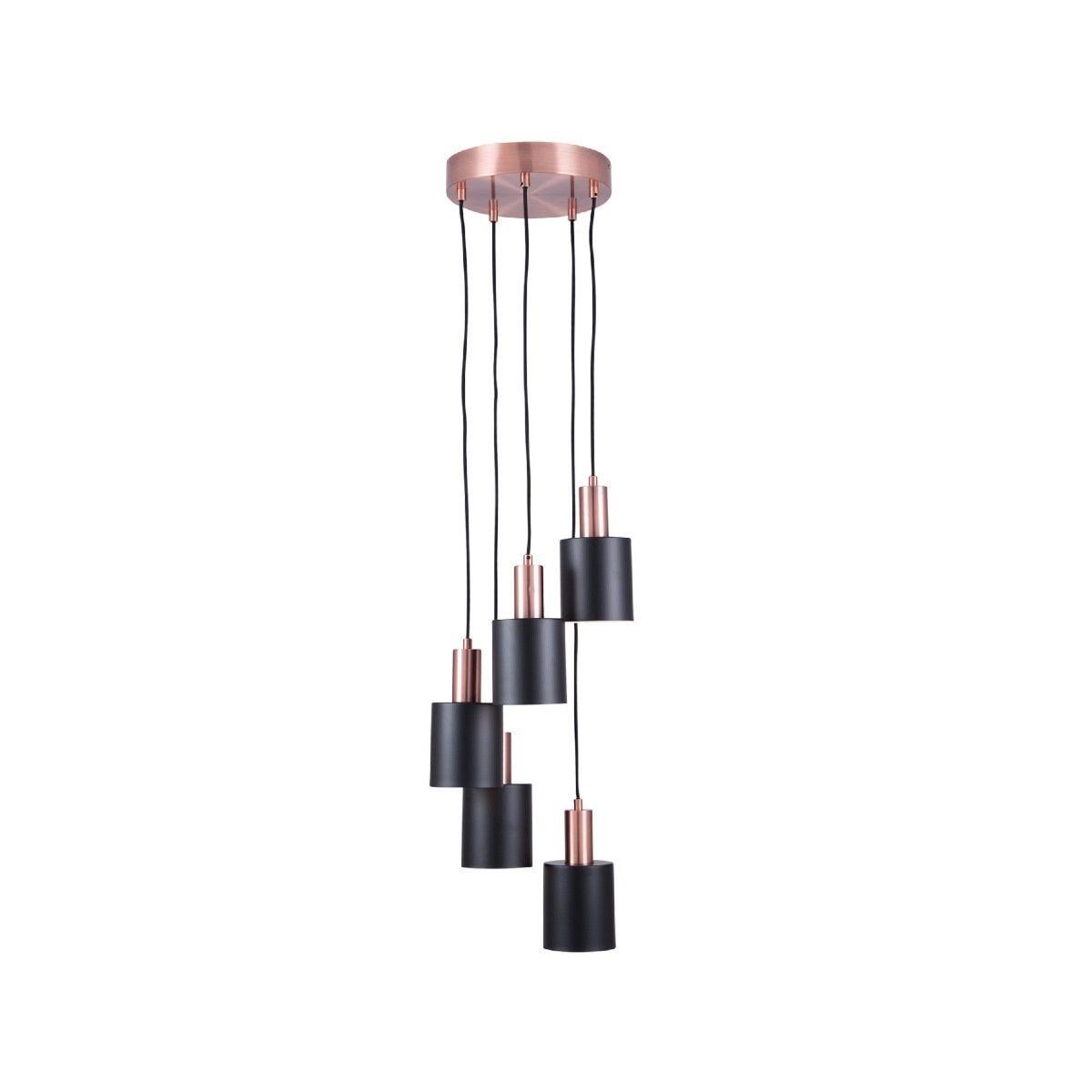 Black & Antique Copper 5 Drop Pendant