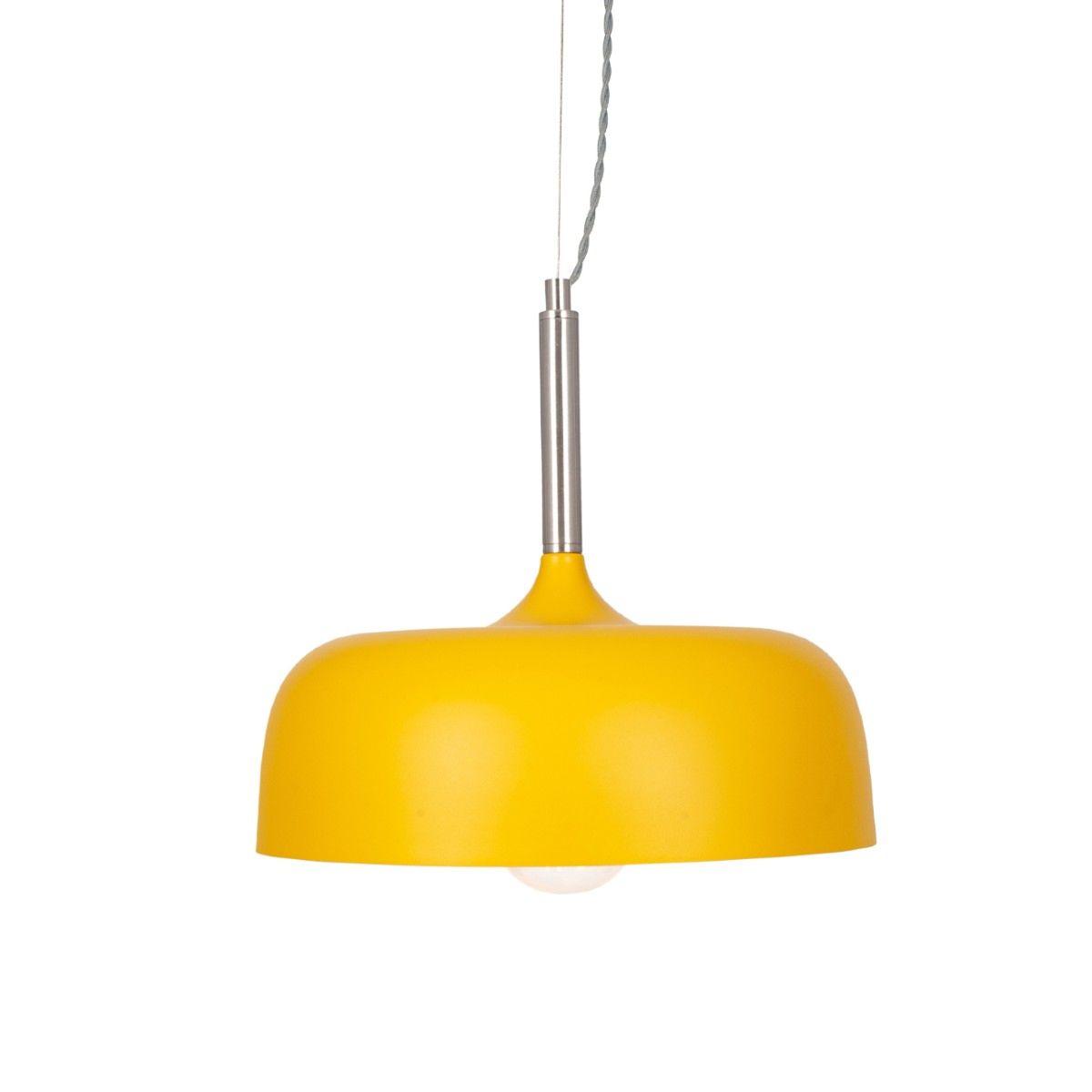 Matt Mustard Domed Metal Pendant
