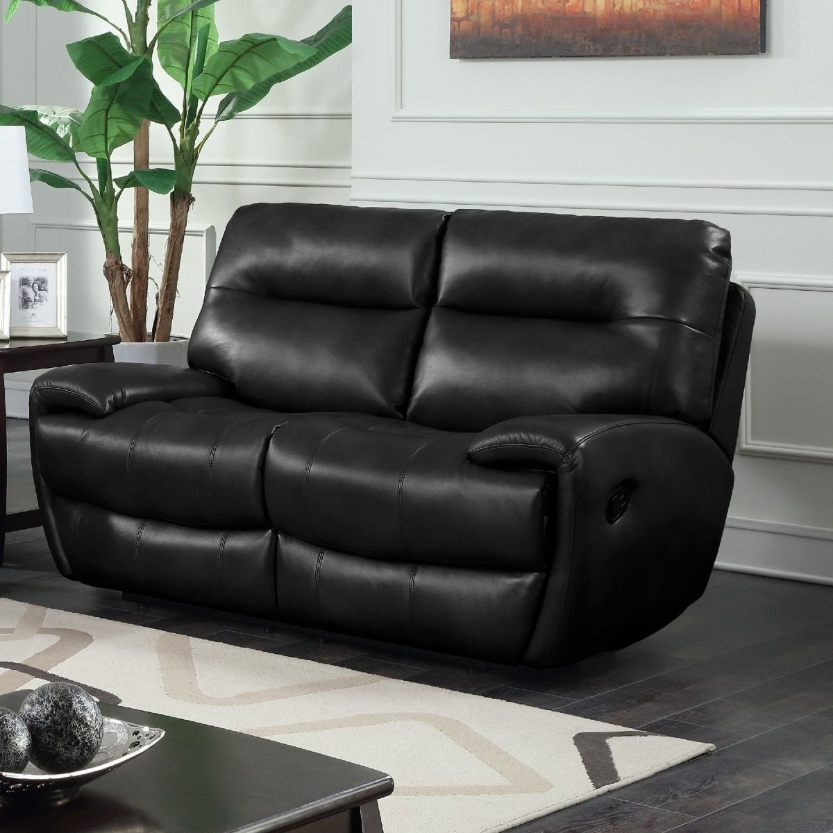 Bampton Recliner 2 Seater Faux Leather Sofa Black