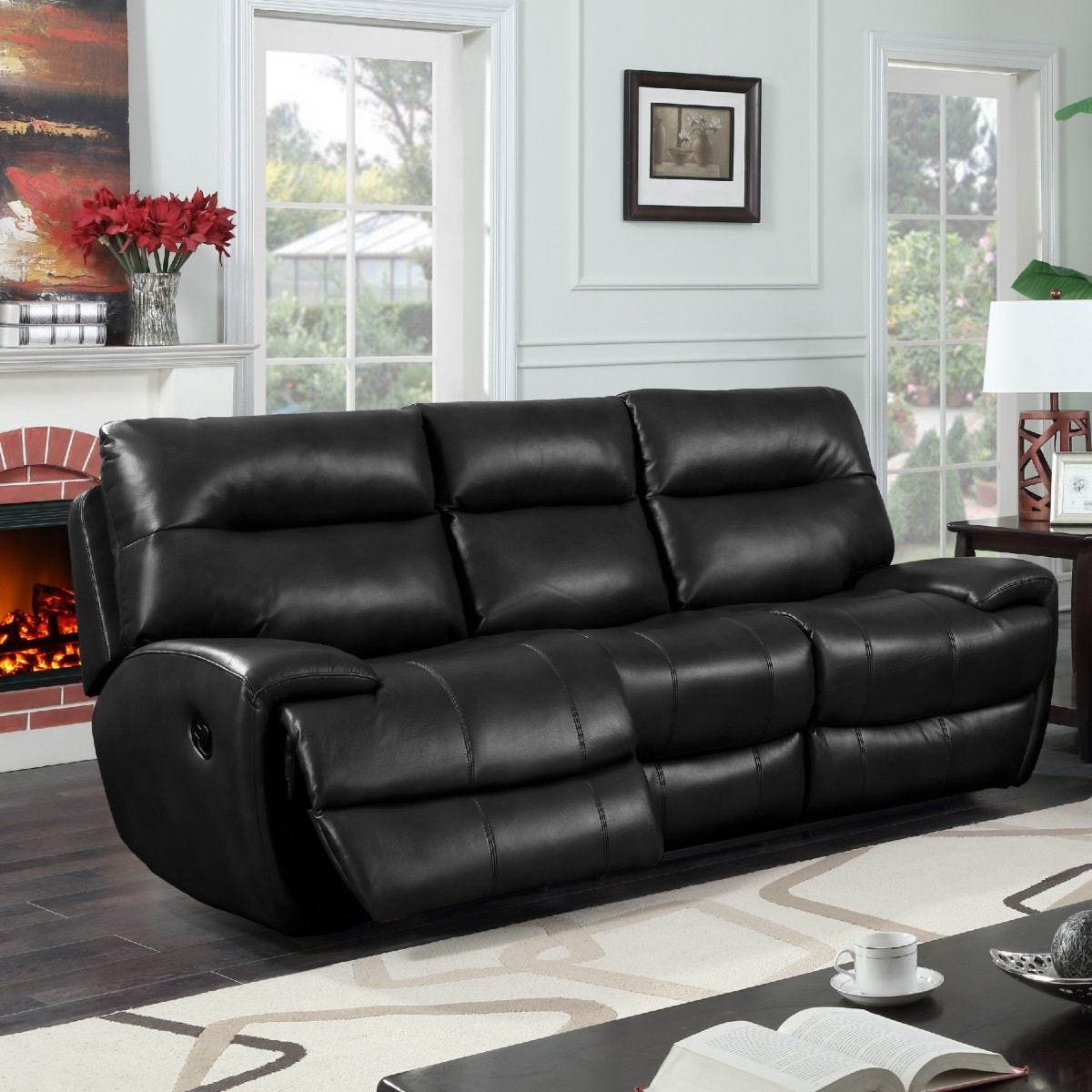 Bampton Recliner 3 Seater Faux Leather Sofa Black