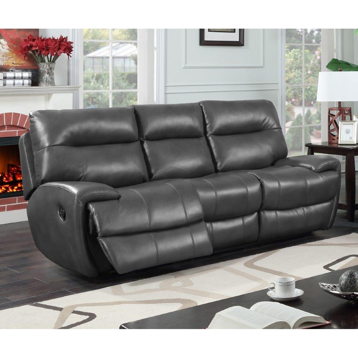 Bampton Recliner 3 Seater Faux Leather Sofa Grey
