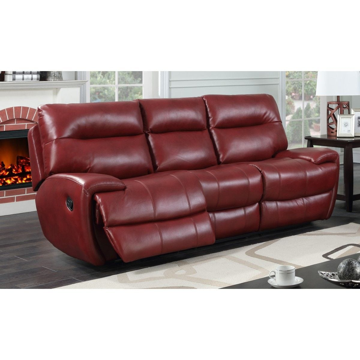 Bampton Recliner 3 Seater Faux Leather Sofa Red