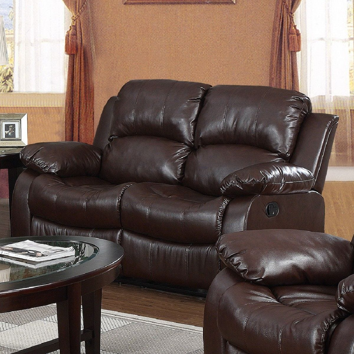 Calne Faux Leather 2 Seater Reclining Sofa Brown