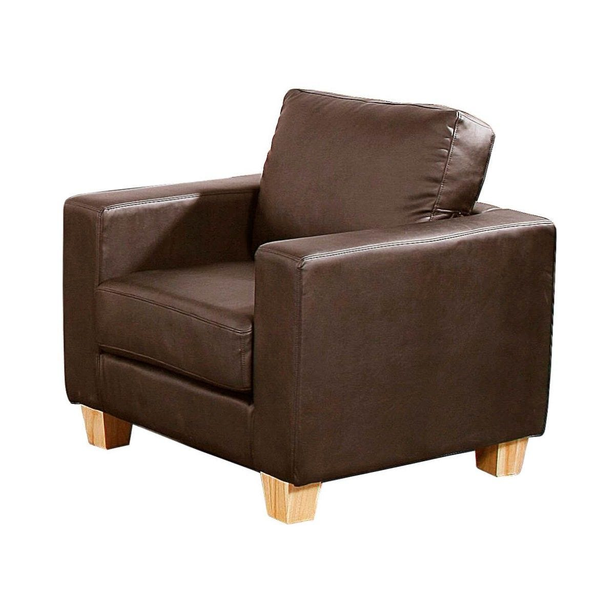 Chester Faux Leather Armchair Brown