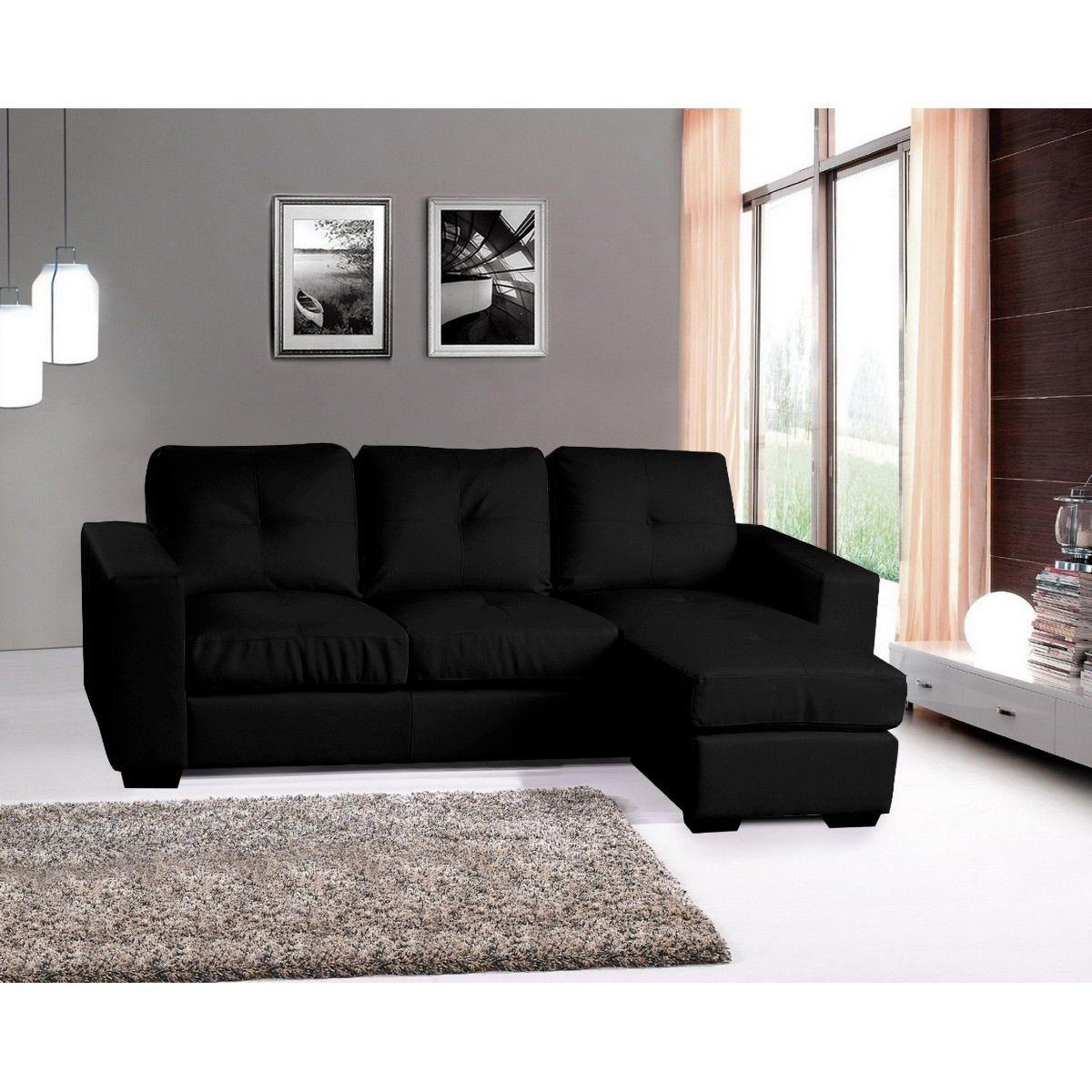 Darwen Bonded Faux Leather Corner Chaise Sofa Black