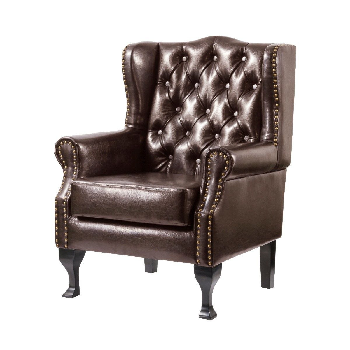 Dunwich Faux Leather Armchair Brown