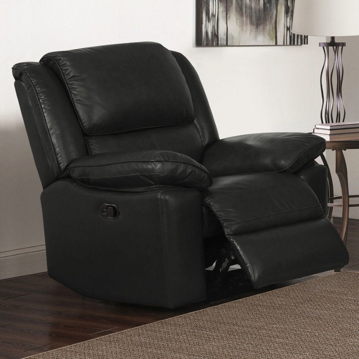 Tipton Faux Leather Reclining Armchair Black
