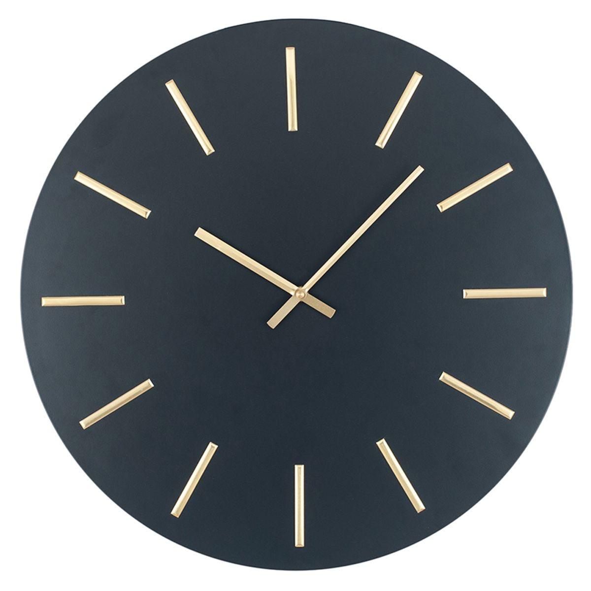 Celestial Matt Black and Gold Detail Round Metal Wall Clock