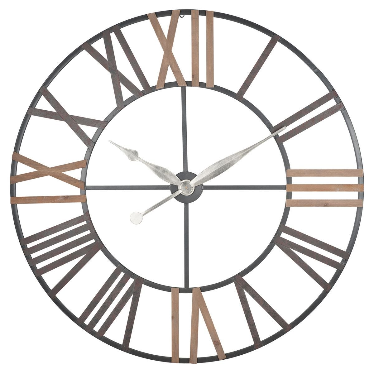 Celestial Antique Grey Metal & Wood Round Wall Clock