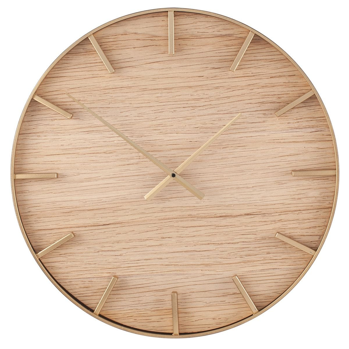 Celestial Gold Metal and Natural Wood Round Wall Clock