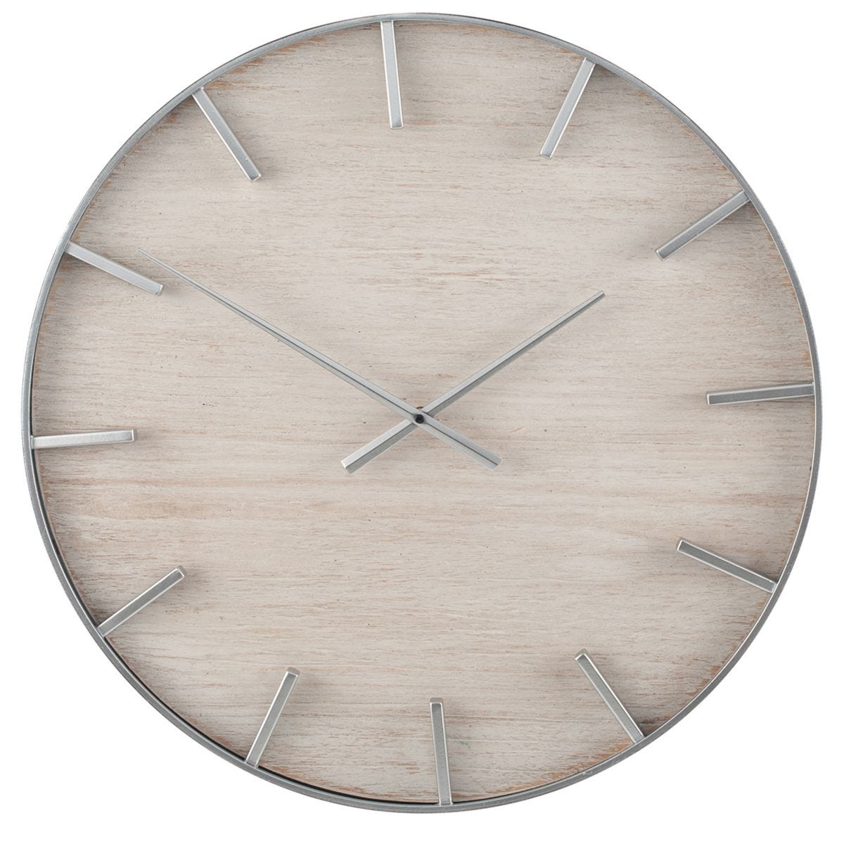 Celestial Silver Metal and White Wash Wood Round Wall Clock