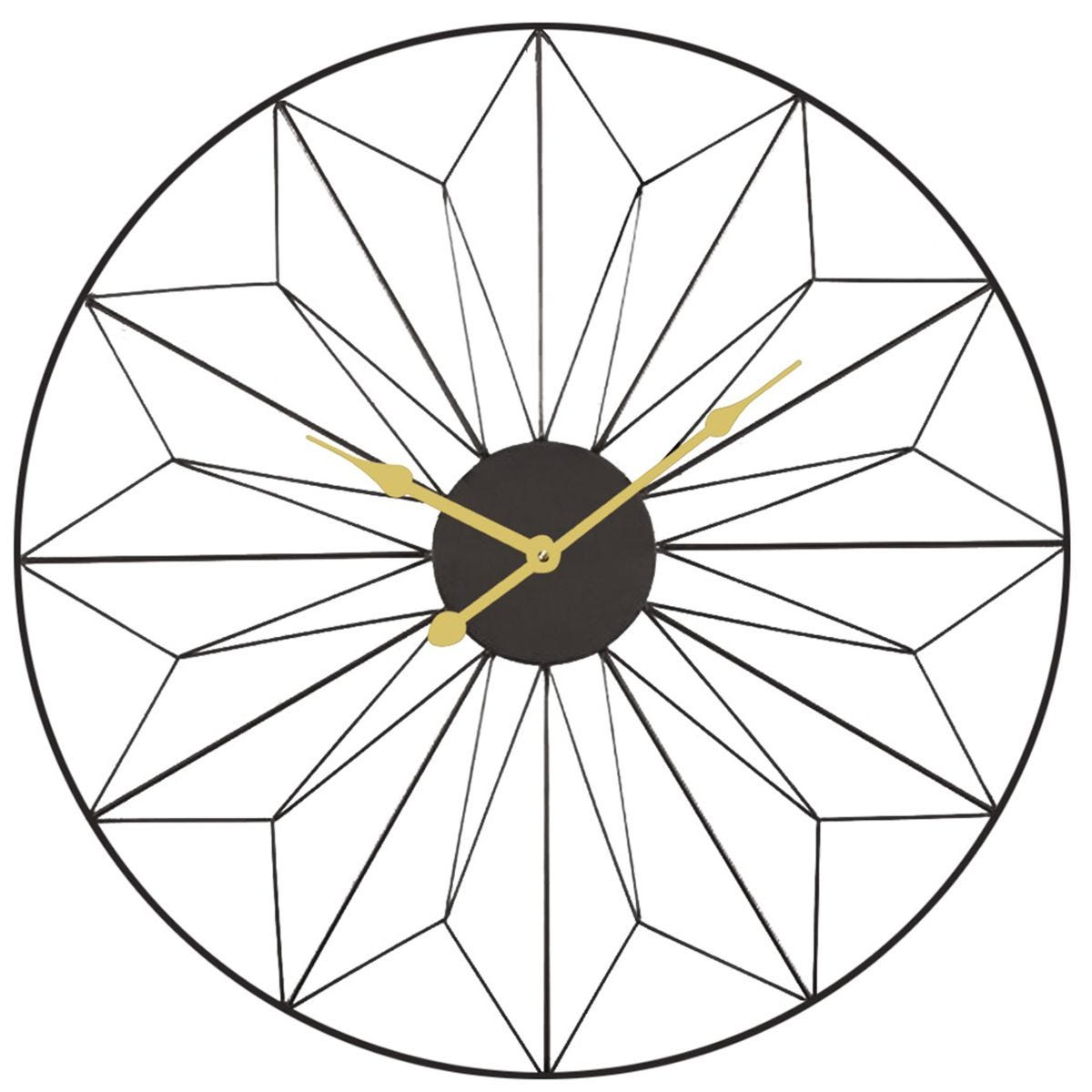 Celestial Black and Gold Metal Geo Design Round Wall Clock