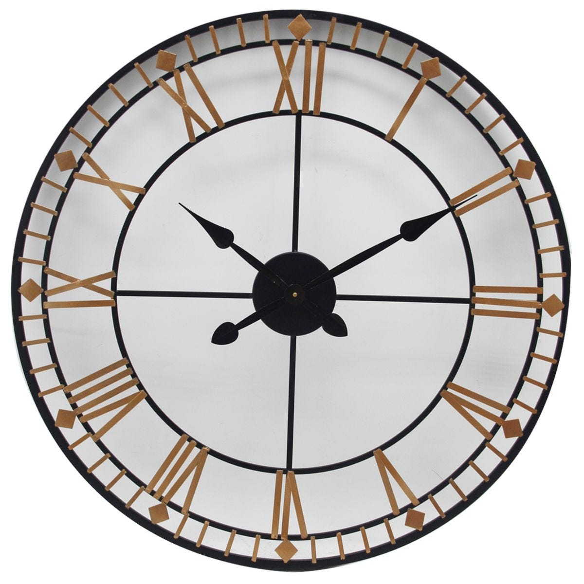 Celestial Black and Rose Gold Metal Round Wall Clock