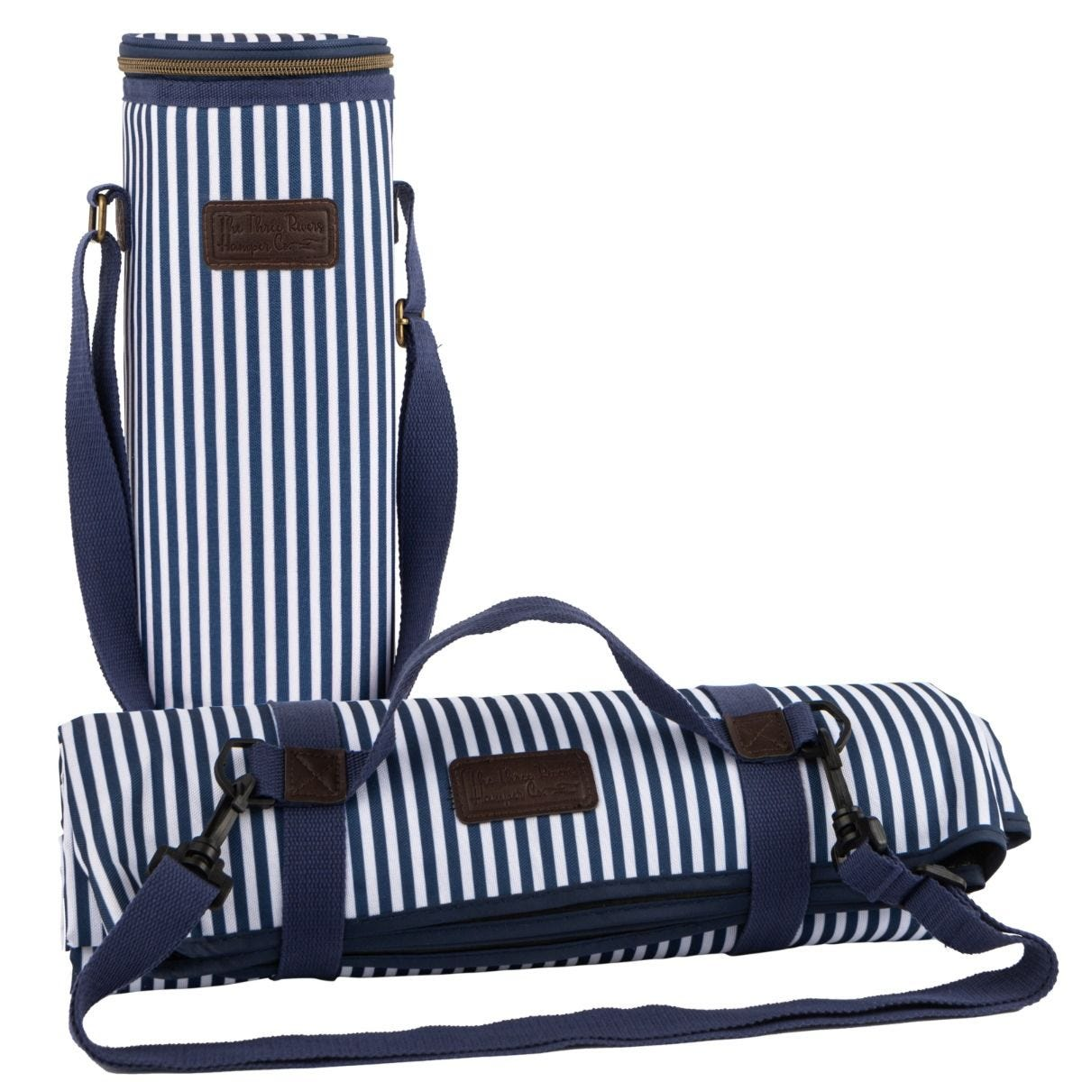 Three Rivers Striped Picnic Blanket & Insulated Bottle Bag - Navy/White