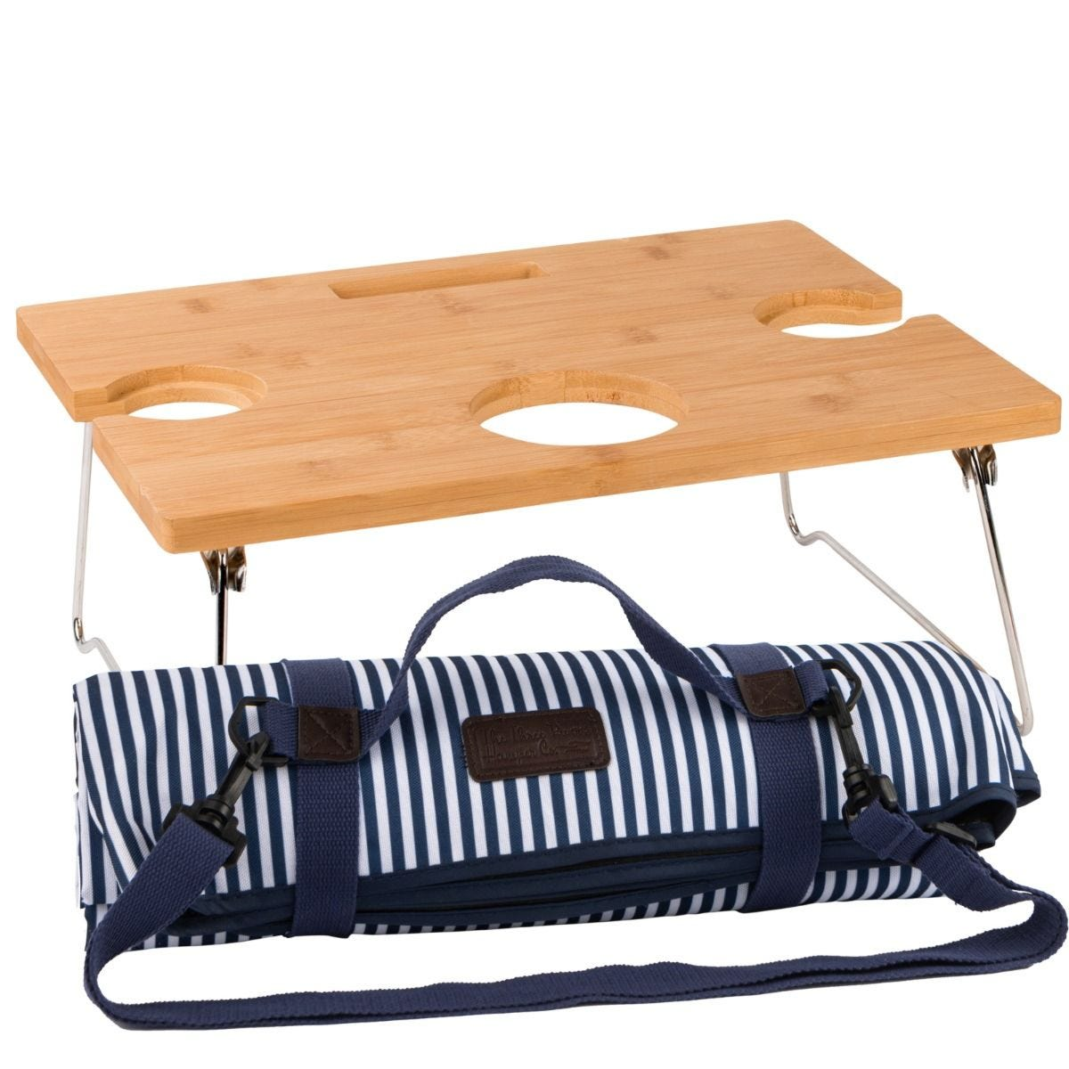 Three Rivers Striped Folding Table & Picnic Blanket - Navy/White