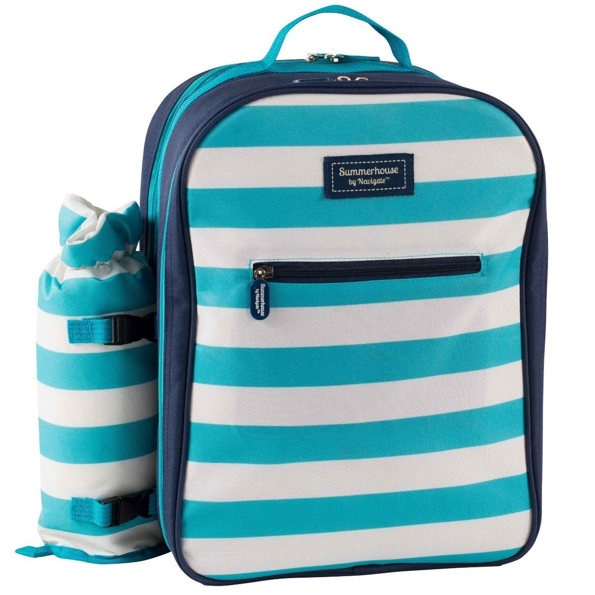Summerhouse Coast 4 Person Backpack with Bottle Cooler - Aqua & White