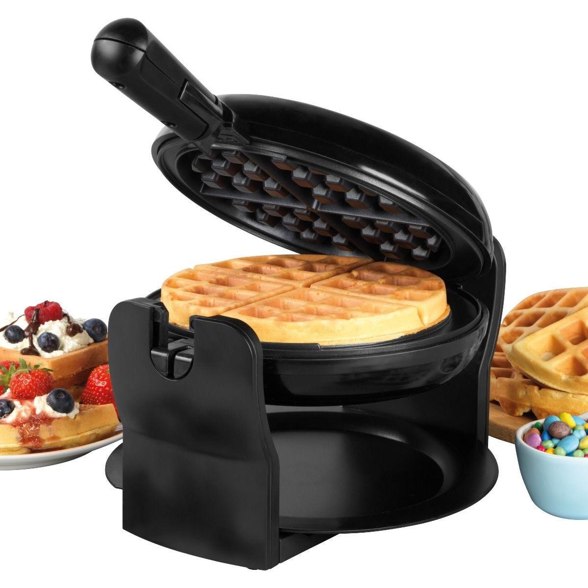 Progress EK4376P 1000W Rotary Non- Stick Waffle Maker - Black