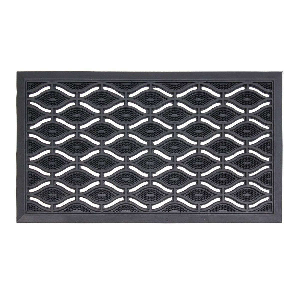 JVL Heavy Duty Ellipse Design Eyes Rubber Floor Door Mat - 40 x 70cm