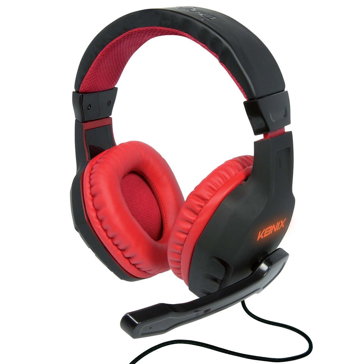 Konix Drakkar Skald Gaming Headset - Black/Red